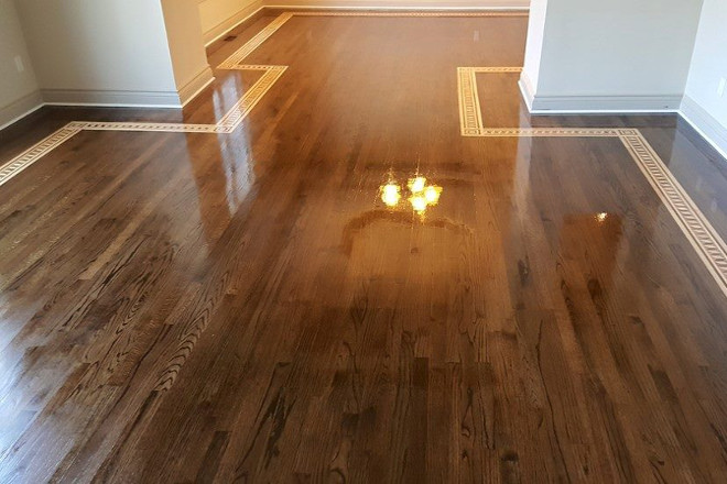 Designer Border with Hardwood Flooring Refinishing Job